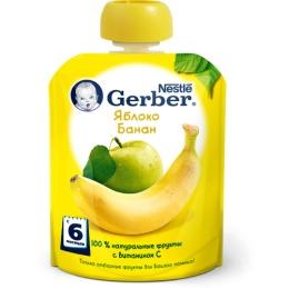 """Gerber пюре """"Яблоко, банан"""" с 6 месяцев, пауч"""