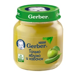 "Gerber пюре ""Яблоко, кабачок"" с 5 месяцев"