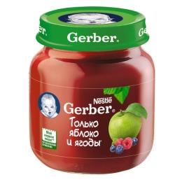 """Gerber пюре """"Яблоко с лесными ягодами"""" с 5 месяцев, 130 г"""