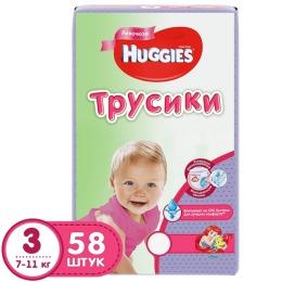 Huggies подгузники-трусики для девочек, размер 3, 7-11 кг