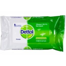Dettol салфетки антибактериальные для рук, 10 шт