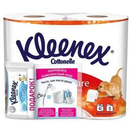"""Kleenex туалетная бумага """"Сочная Клубника"""" трехслойная 4 шт + влажные салфетки"""