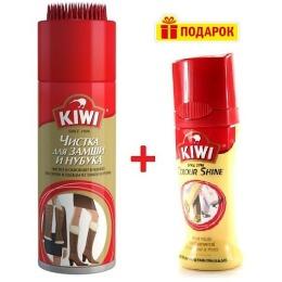 Kiwi средство по уходу за изделиями из замши и нубука в аэрозольной упаковке 200 мл + Крем-блеск жидкий для обуви бесцветный 50мл