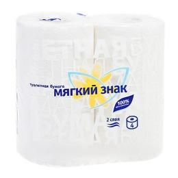 """Мягкий знак туалетная бумага """"Буквы"""" с тиснением, с перфорацией, 2 слоя, тон белая, 4 рулона"""