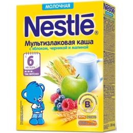 """Nestle каша молочная """"Мультизлаковая"""" с яблоком, черникой, малиной и бифидобактериями, 220 г"""