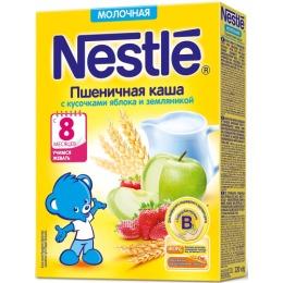 """Nestle каша молочная """"Пшеница. Земляника, яблоко"""" быстрорастворимая, с бифидобактериями, 220 г"""