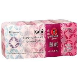 """Maneki туалетная бумага """"Kabi"""" 3 слоя, 280 листов, 39.2 метра, гладкая, с ароматом ириса, тон белая, 10 рулонов"""