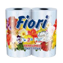 "Aster туалетная бумага ""Fiori"" 3 слойная ароматизированная, тон голубая, 4 шт"