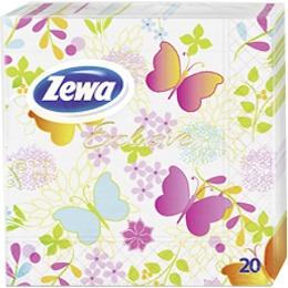 Zewa салфетки эксклюзив 3-ех слойные 33х33см декор бабочки 20шт