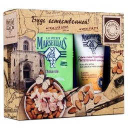 """Le Petit Marseillais набор женский гель для душа """"Сладкий миндаль"""", 250 мл + крем для рук """"Карите, сладкий миндаль и масло арганового дерева"""", 75 мл"""