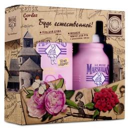 """Le Petit Marseillais набор женский гель для душа """"Малина и пион"""", 300 мл + жидкое мыло для рук """"Малина и пион"""", 300 мл"""