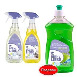 Meine Liebe набор средство для кухонных поверхностей, сантехники 750 мл + гель для мытья посуды яблоко 500 мл