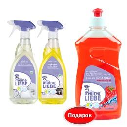 Meine Liebe набор средство для кухонных поверхностей, сантехники 750 мл + гель для мытья посуды малина 500 мл