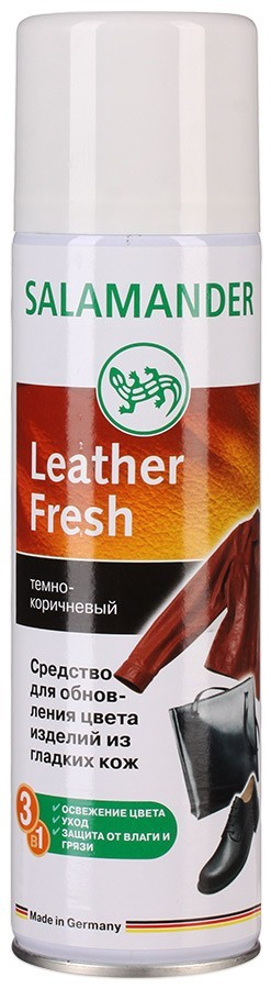 Краска для гладкой кожи salamander professional leather fresh аэрозоль 008 средне - коричневая, 250 мл